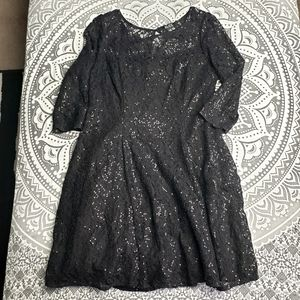 SUPER CUTE GOTH BLACK SEQUIN DRESS 14 LACE MID
